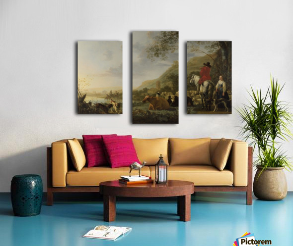 A Hilly Landscape with Figures Canvas print