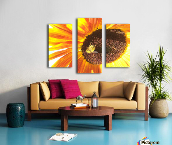 Bumblebee on Sunflower Canvas print