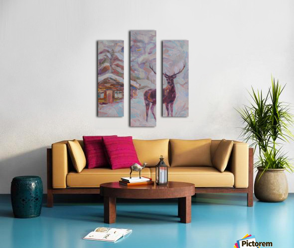 Deer and Hut Canvas print