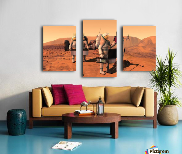 Artists concept of astronauts setting up weather monitoring equipment on Mars. Canvas print