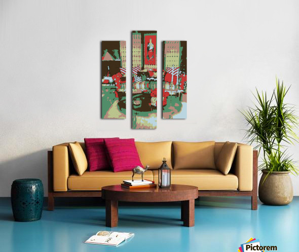The Striped Sofa -- Red & Verdigris Canvas print
