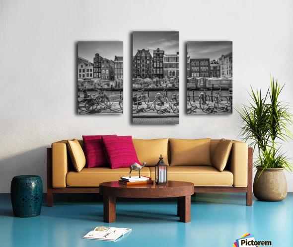 AMSTERDAM Singel Canal with Flower Market | monochrome Canvas print