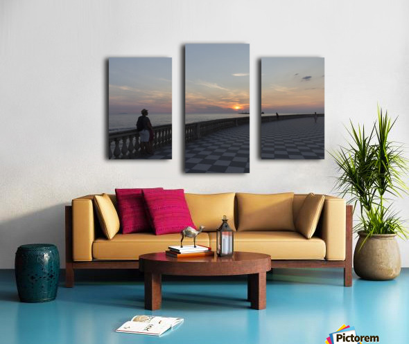 Sunset in Livorno - Piazza Mascagni Canvas print