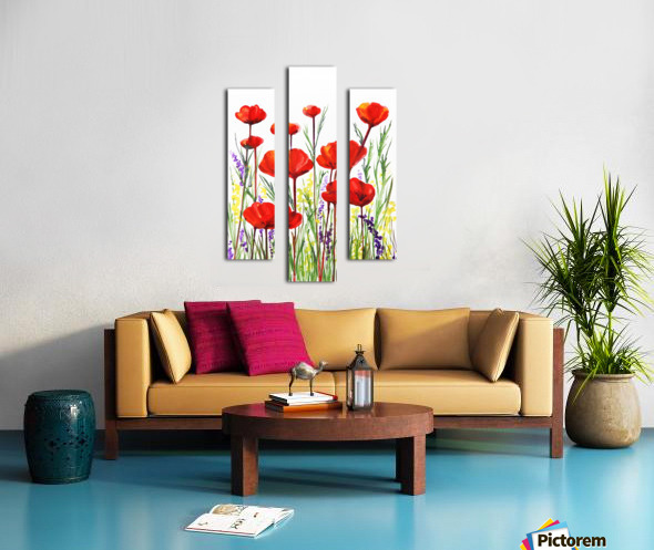 Red Poppies And Lavender Field Watercolor Canvas print