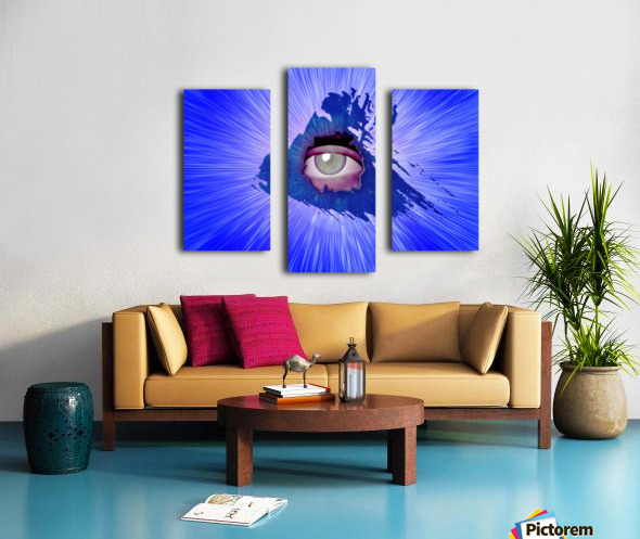 Eye behind wall crack Canvas print