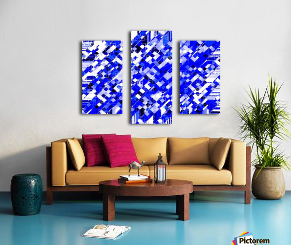 geometric square pixel pattern abstract background in blue Canvas print