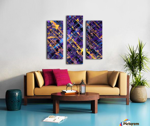splash geometric triangle pattern abstract background in blue purple yellow Canvas print