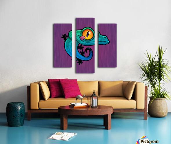 Cute Colorful Cartoon Gecko Canvas print