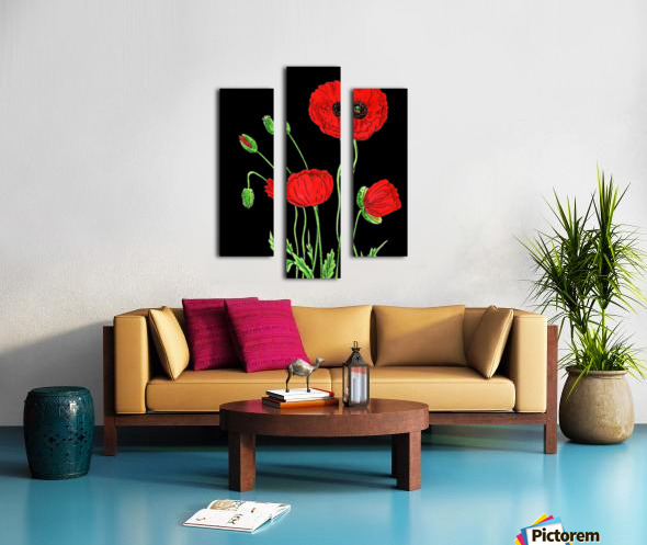 Red Poppy Flowers Watercolor Canvas print