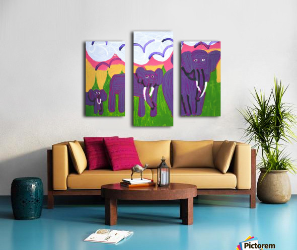 Purple Elephants. Michael D. Canvas print
