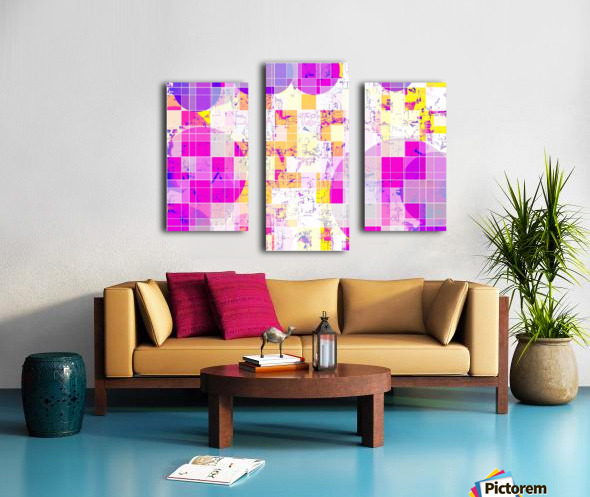 geometric square and circle pattern abstract in pink purple yellow Canvas print