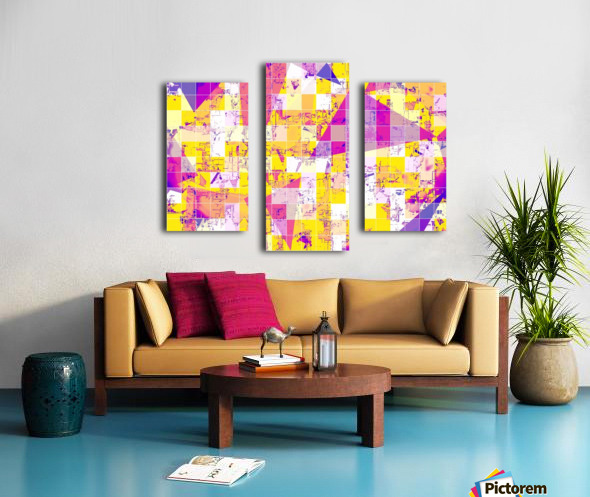 geometric square and triangle pattern abstract in pink yellow blue Canvas print