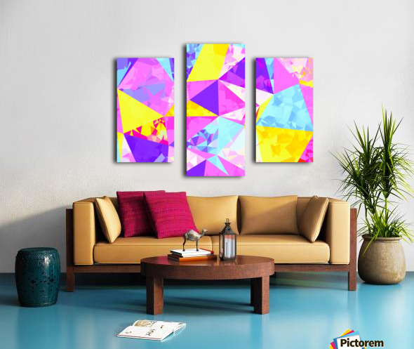 geometric triangle polygon pattern abstract in pink purple blue yellow Canvas print
