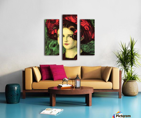 Mary with red hat by Franz von Stuck Canvas print