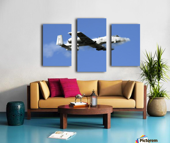 An A-10 Thunderbolt II pilot fires the planes 30-mm cannon. Canvas print