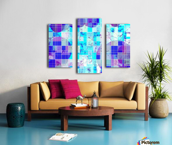 geometric square and circle pattern abstract in blue Canvas print