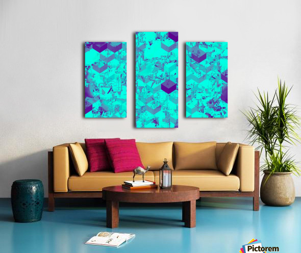 geometric square pattern abstract in blue Canvas print