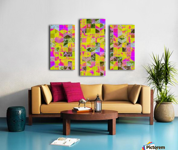 geometric square pattern abstract in yellow green pink Canvas print