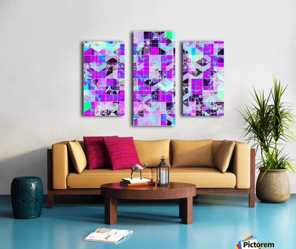 geometric square pattern abstract in purple blue Canvas print