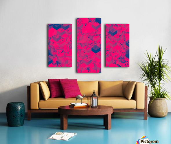 geometric square pattern abstract in pink blue Canvas print