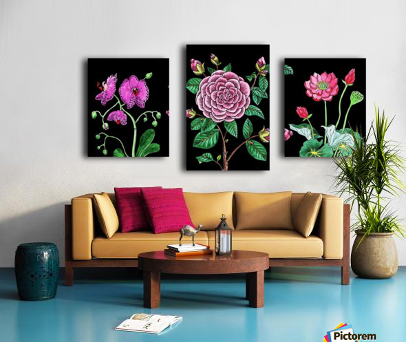 Camellia Orchid Lotus Flowers Watercolor On Black Canvas print