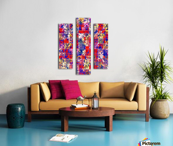 blooming flower with square pattern abstract in red and blue Canvas print