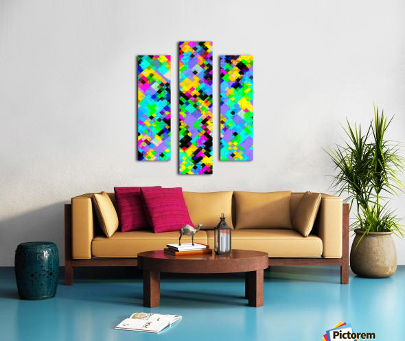 geometric square pixel pattern abstract in blue green yellow pink Canvas print