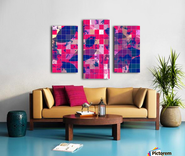 geometric square and circle pattern abstract background in red pink blue Canvas print