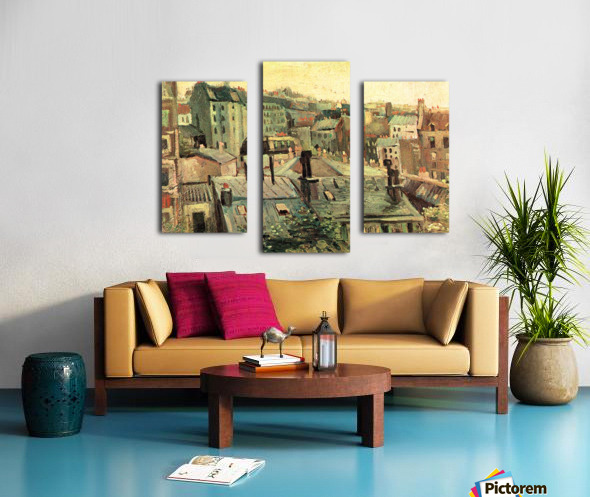 Overlooking the rooftops of Paris by Van Gogh Canvas print