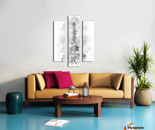 Monochrome Art EIFFEL TOWER | watercolor Canvas print