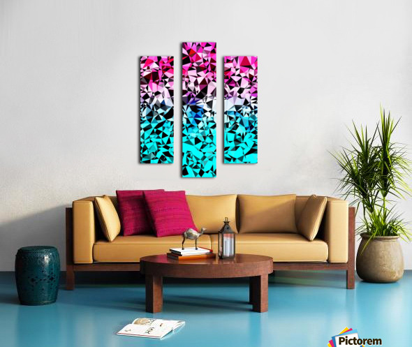 geometric triangle pattern abstract in pink blue black Canvas print