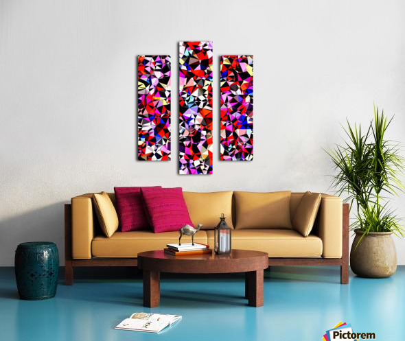 geometric triangle pattern abstract in red pink black blue Canvas print
