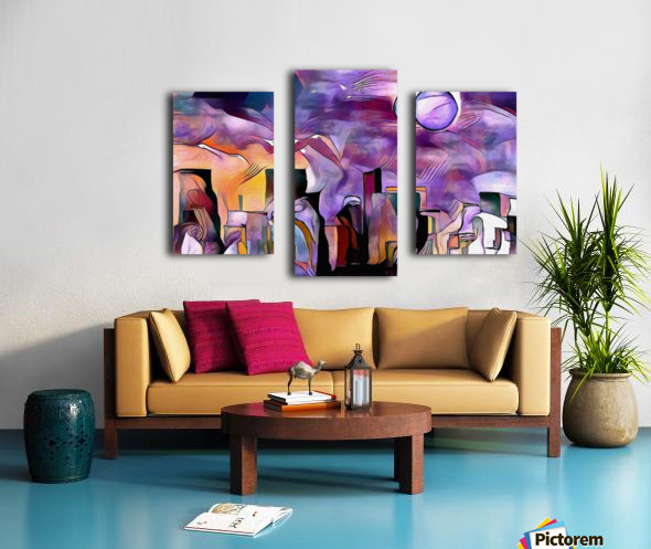 Colorful City Silhouettes Canvas print
