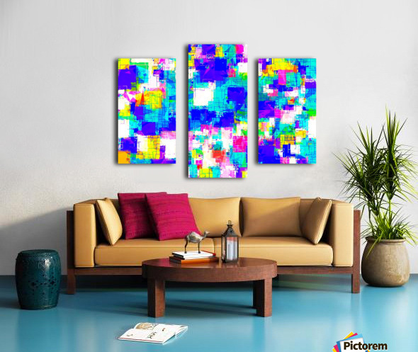 geometric square pattern abstract in blue pink yellow Canvas print