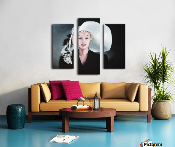 Marilyn with white hat Canvas print