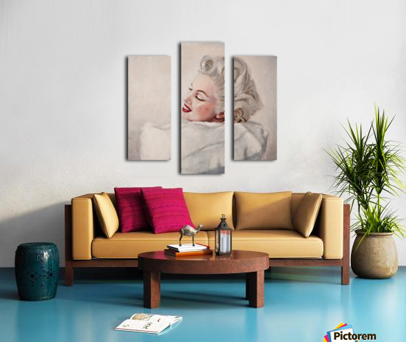 Marilyn in white mink  portrait 1 Canvas print