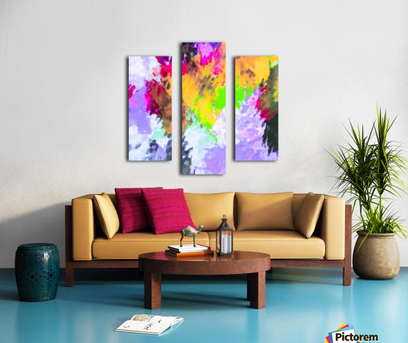 painting texture abstract background in purple yellow green pink Canvas print