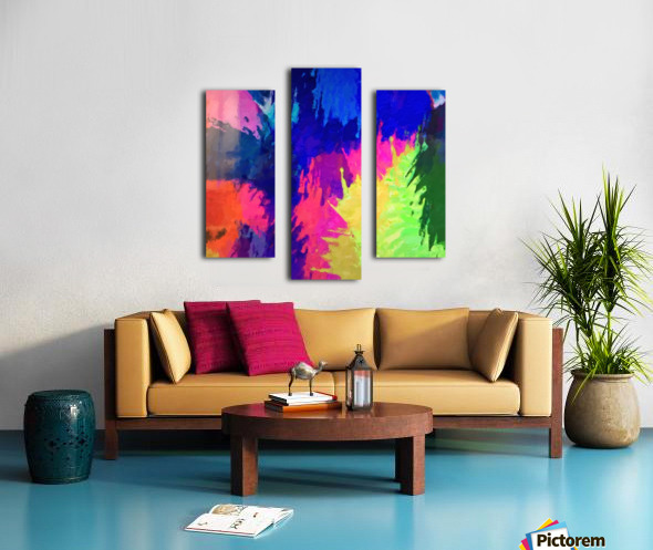 painting texture abstract background in blue pink yellow green Canvas print