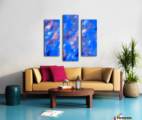 painting texture abstract background in blue pink Canvas print
