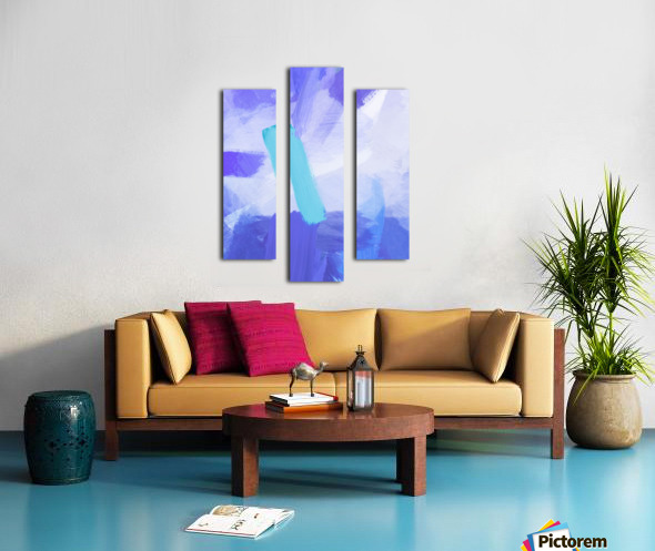 brush painting texture abstract background in blue Canvas print