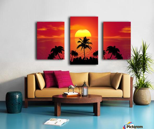 tropical sunset summer sun palm tree hot climate night Canvas print
