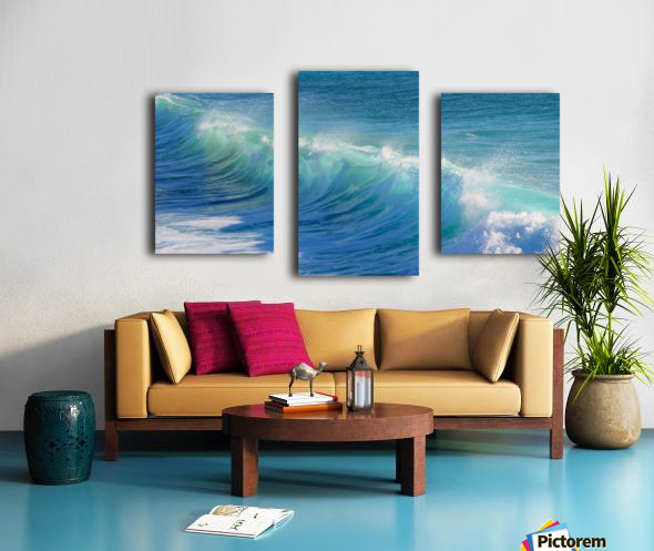 surf, water, wave, sea, nature, turquoise, ocean, splash, seashore, panoramic, spray, foam, Canvas print