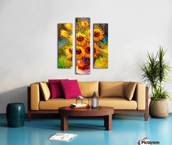 A bouquet of sunflowers Canvas print