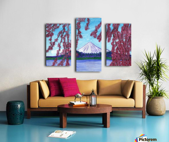 Sakura blooming on the background of a snowy mountain Canvas print