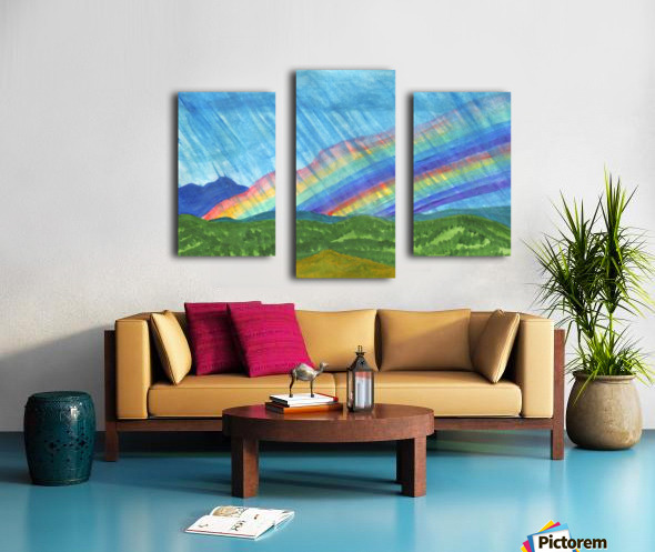 Double rainbow and rain in the mountains Canvas print