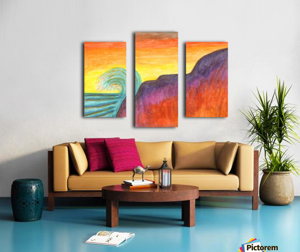 Sea surf at sunset Canvas print