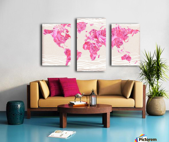 Pink Rose Petals Watercolor Map Of The World Canvas print