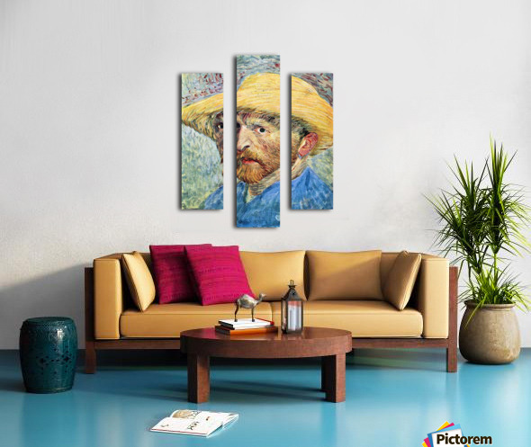 Self-portrait, with straw hat and blue shirt by Van Gogh Canvas print