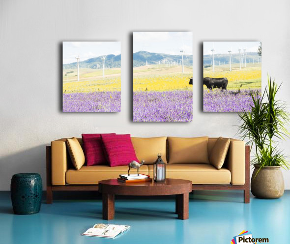 BULL AMONGST FLOWERS Canvas print