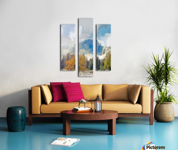 Half Dome from Meadow Digital Painting 52 70 200px Canvas print